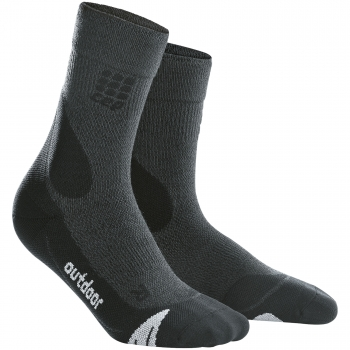 CEP Outdoor Merino Mid Cut Compression Socks Herren | Grey Black