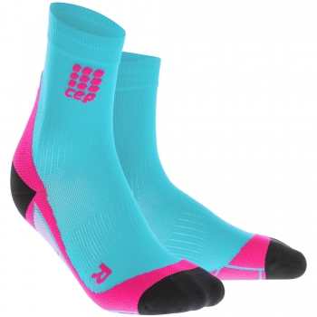 CEP Run 2.0 Short Cut Compression Socks Damen | Hawaii Blue Pink
