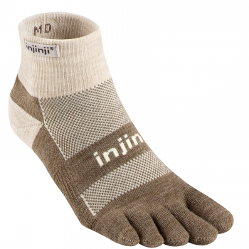 Injinji Outdoor Midweight Mini Crew Zehensocken | Oatmeal-Brown | Dick