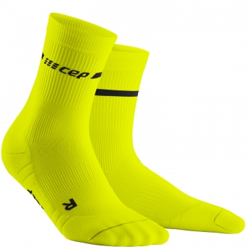 CEP Run 3.0 Neon Compression Mid Cut Socks Herren | Neon Yellow